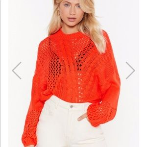 Cable knit crop sweater